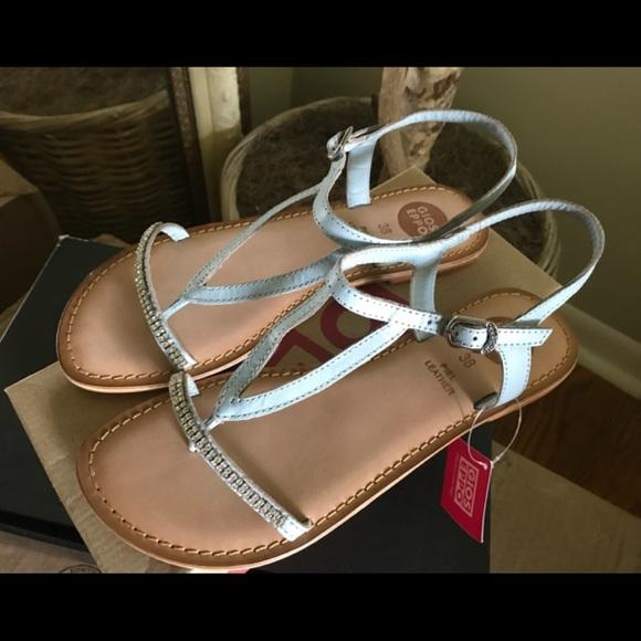 c20be822ef30d0 Blue Leather Sandal w Jewel embellishments